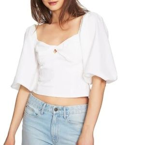 NWT Off the shoulder puff sleeve white cotton top